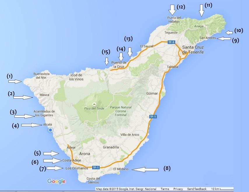 מפת חופים טנריף
